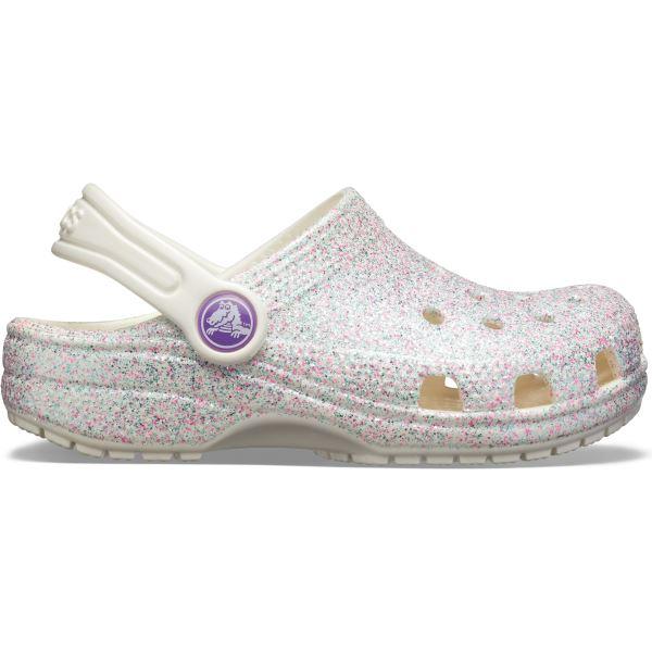 Gyerekcipő Crocs Classic Glitter Clog fehér