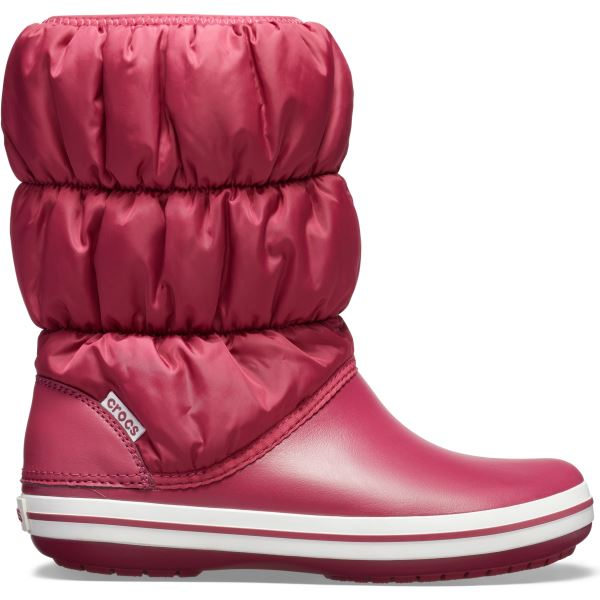 Női téli csizma Crocs WINTER PUFF BOOT gránát piros / fehér