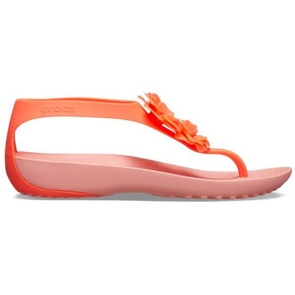 Női papucs Crocs SERENA Embellish Flip W Bright dinnye rózsaszín / narancs